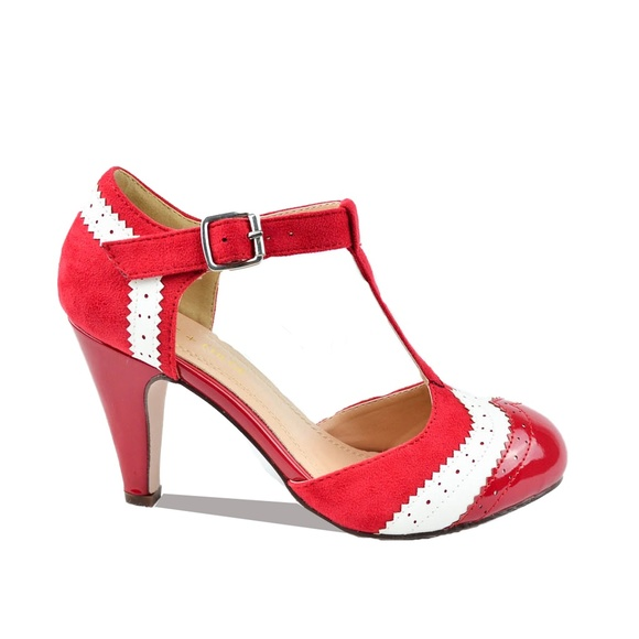27638288cad Red T-Strap Two Tone Women's Retro Heels Boutique